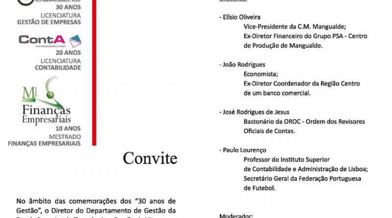 """Conferência """"Finanças e Contabilidade"""" nos 30 anos do Departamento de Gestão"""